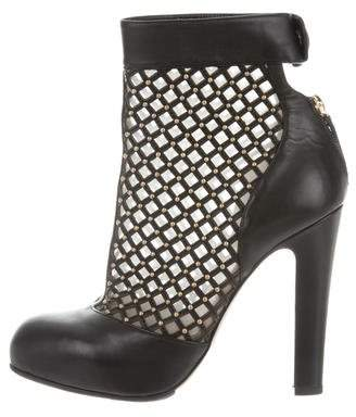 Valentino Studded Laser Cut Ankle Boots