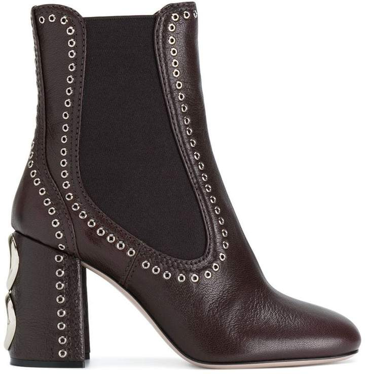 Miu Miu eyelet detail ankle boots