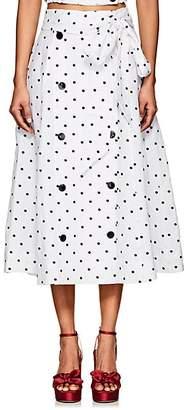 Lisa Marie Fernandez Women's Diana Polka Dot Linen Midi-Skirt - Wht.&blk.