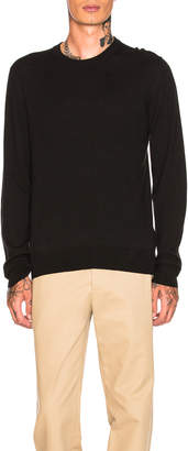 Maison Margiela Gauge 14 Crewneck with Elbow Patches in Black | FWRD