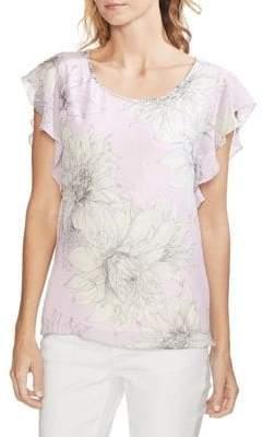 Vince Camuto Flutter Sleeve Floral Top
