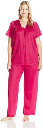 Vanity Fair Women's Plus Size Sleepwear Colortura Short Sleeve Pajama Set