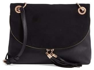 BP Faux Leather Foldover Tassel Crossbody Bag