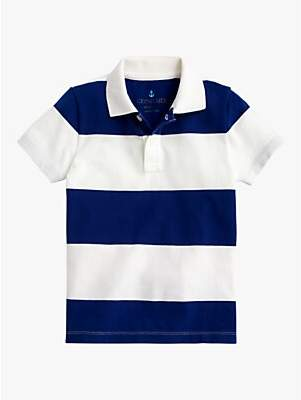 J.Crew crewcuts by Boys' Rugby Stripe Polo Shirt, Ivory/Blue