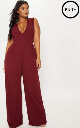 5daf5a57a5462 PrettyLittleThing Plus Burgundy Plunge Wide Leg Jumpsuit