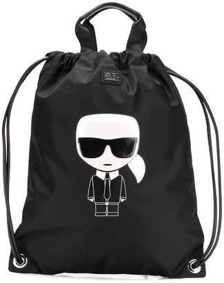 Karl Lagerfeld Paris K/Ikonik nylon flat backpack