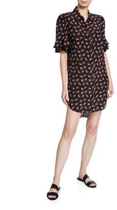 Frame Printed Button-Front Ruffle-Sleeve Silk Shirtdress
