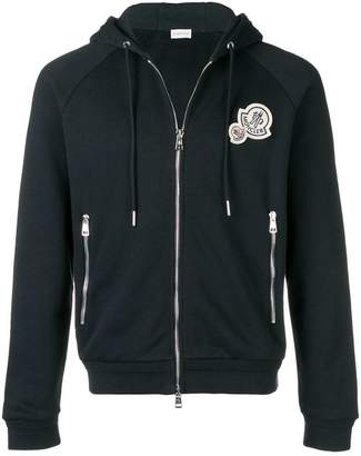 Moncler patch embellished zipped hoodie