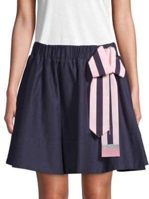 Love Moschino Bow-Accented Cotton Mini Skirt