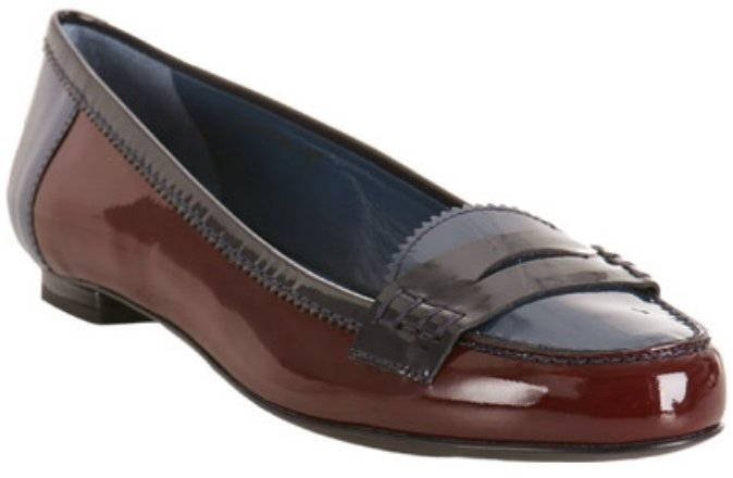 Yves Saint Laurent burgundy patent 'Preppy' penny loafers