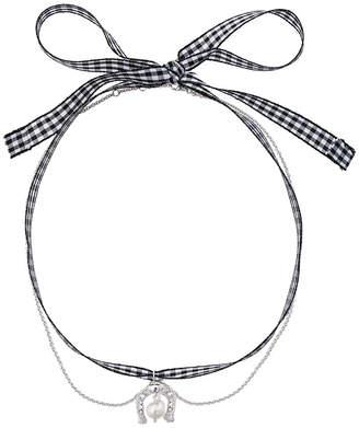 Miu Miu Gingham Horseshoe Necklace