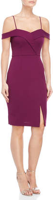 Bebe Purple Off-the-Shoulder Bodycon Dress