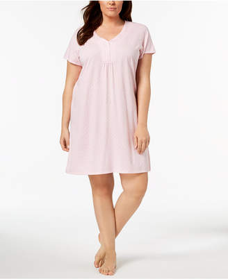 Charter Club Plus Size Dotted Cotton Sleepshirt, Created for Macy's