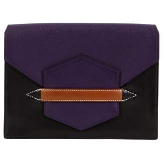 Hermes Faco Purple Leather Clutch Bag