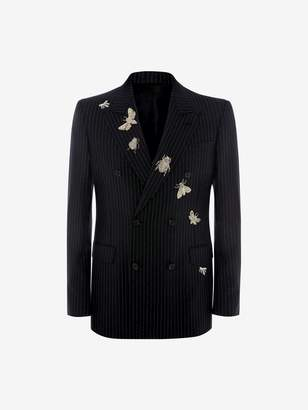 Alexander McQueen Double-Breasted Insect Pinstripe Jacket