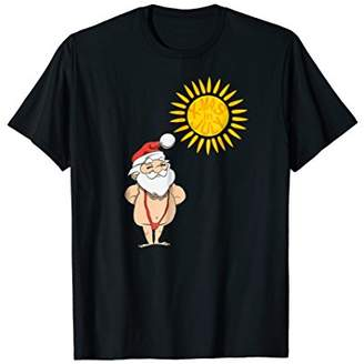 Xmas in July Shirt Santa Sunbathing in red Mankini Swimsuit