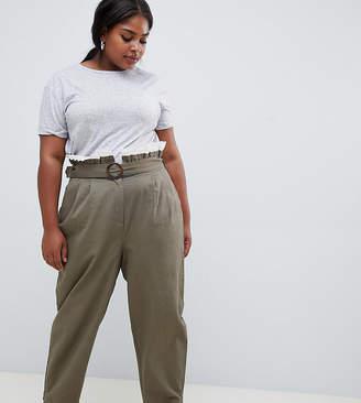 Asos DESIGN Curve peg pants with lace paperbag waist