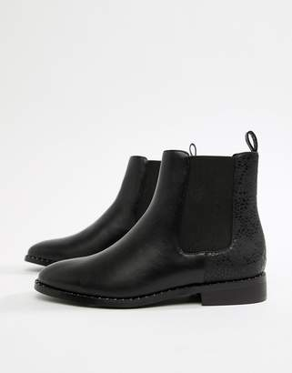 Head Over Heels by Dune Petunia Black Studded Casual Ankle Boots