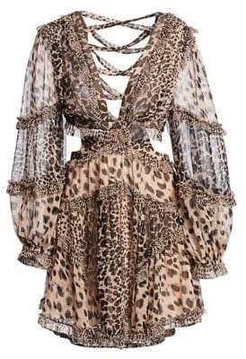 Zimmermann Allia Leopard Cutout Sheer Dress