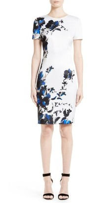 Women's St. John Collection Spring Blossom Satin Dress $995 thestylecure.com
