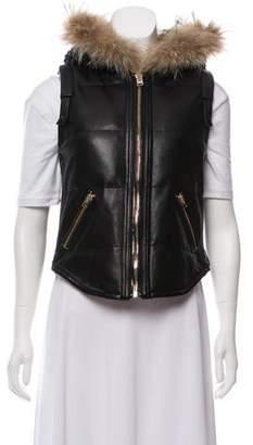 Hotel Particulier Fur-Trimmed Leather Vest