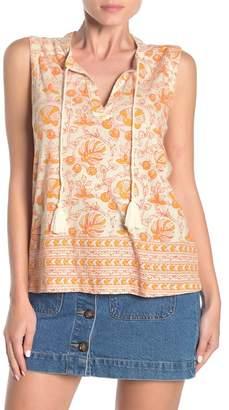 Lucky Brand Woodblock Print Tassel Tie Tank Top