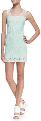 Neiman Marcus La Pina Elyse Crochet Knit Dress, Mint