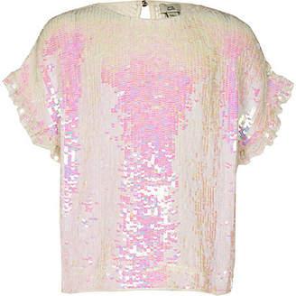 River Island Girls White sequin embellished T-shirt