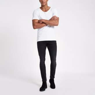 River Island Mens White scoop neck muscle fit T-shirt
