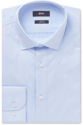 HUGO BOSS Light-Blue Jesse Slim-Fit Striped Cotton-Poplin Shirt