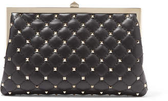 Valentino Garavani Candystud Quilted Leather Clutch - Black