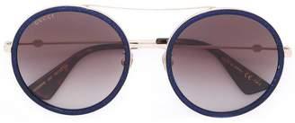Gucci round frame metal sunglasses