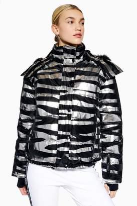 Topshop Womens **Zebra Foil Print Jacket By Sno - Silver