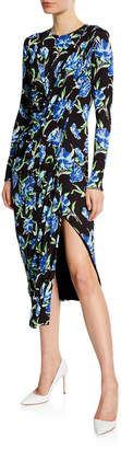 Jason Wu Long-Sleeve Floral Draped Jersey Dress