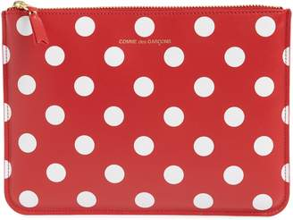 Comme des Garcons Polka Dot Top Zip Leather Pouch Wallet