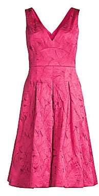 Elie Tahari Women's Mohini Floral Jacquard V-Neck Fit and Flare Dress