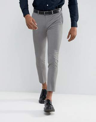 Asos DESIGN Extreme Super Skinny Cropped Smart Pants in Mid Gray