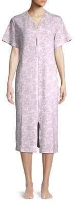 Miss Elaine Paisley-Print Zip-Front Robe