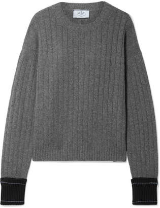 Prada Paneled Ribbed Cashmere Sweater - Anthracite