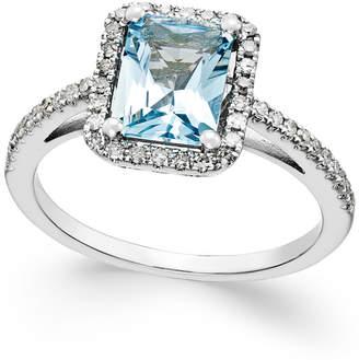 Macy's Aquamarine (1-1/5 ct. t.w.) and Diamond (1/4 ct. t.w.) Ring in 14k White Gold