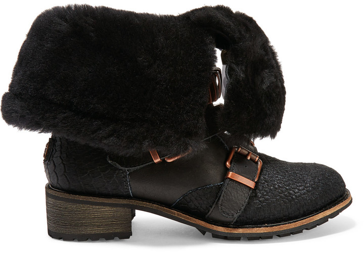 Australia Luxe CollectiveAustralia Luxe Collective Eastsider shearling-lined croc-effect pony hair and suede boots