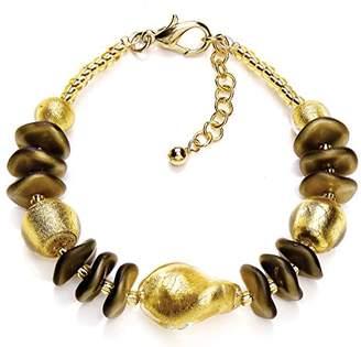 Murano Black and Avventurine Disc Bracelet of Length 23-19 cm 8isinrCi