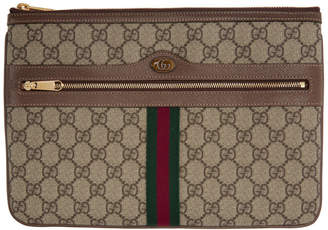 Gucci Brown GG Supreme Ophidia Pouch