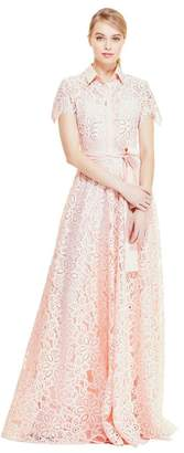 Lela Rose Floral Corded Lace Flutter Sleeve Gown