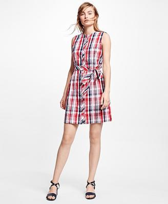 Seersucker Plaid Shirt Dress $118 thestylecure.com