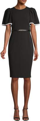 Calvin Klein Puff Sleeve Belted Sheath Dress