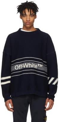 Off-White Off White Navy Intarsia Logo Sweater