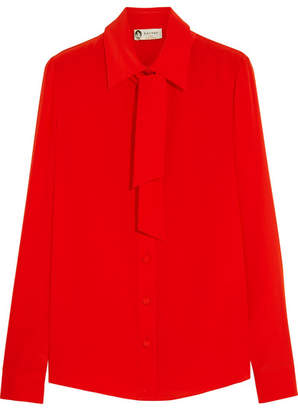 Lanvin - Pussy-bow Silk Crepe De Chine Shirt - Red $1,095 thestylecure.com