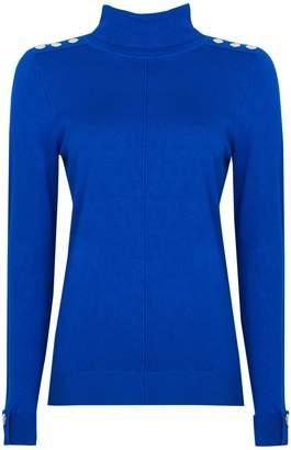 Wallis Blue Stud Detail Polo Neck Jumper