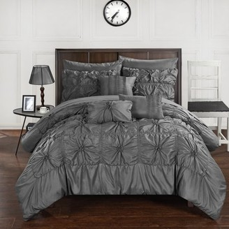 Chic Home 10-Piece Grantfield Floral Pinch Pleat Ruffled Designer Embellished King Bed In a Bag Comforter Set Charcoal With sheet set